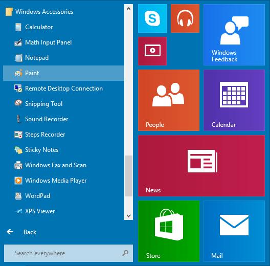 accessories in windows 8.1