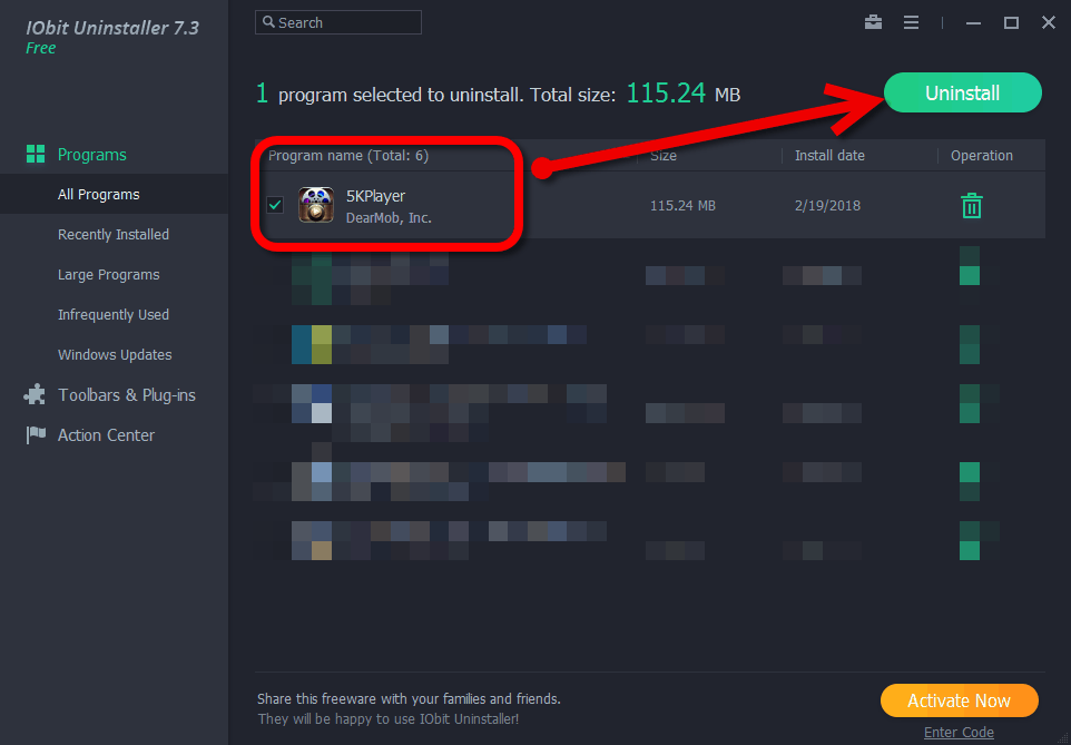 iobit uninstall 5kplayer