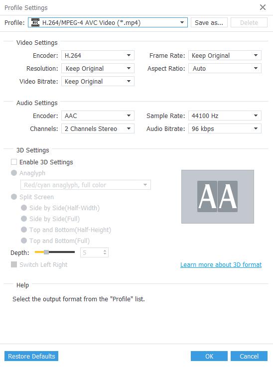 anymp4 profile settings h264