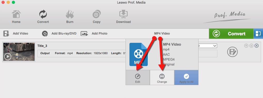 leawo change edit profile mac