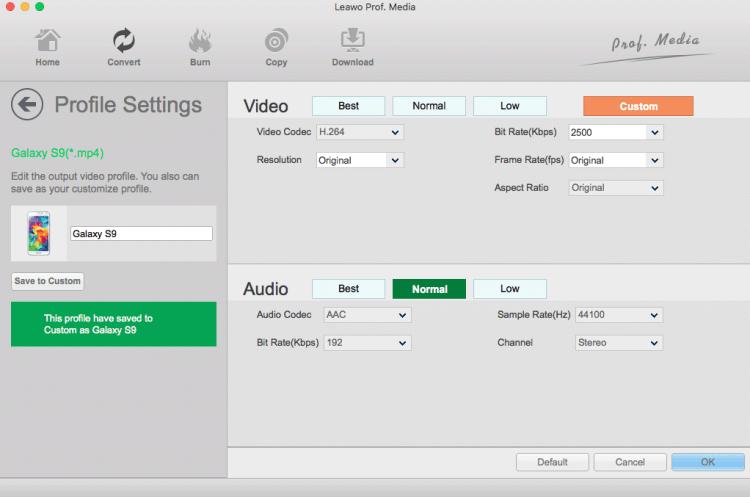 leawo custom profile for galaxy s9 mac