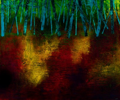 "At Wood's Edge, acrylic on canvas, 60"" x 72"", $3200"