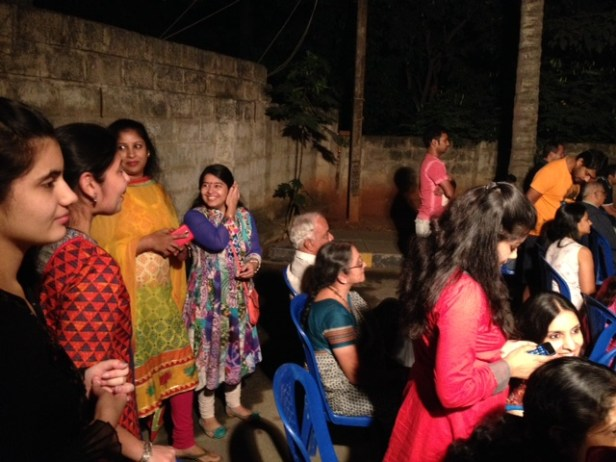 The ladies had a 'night-out' right outside their home, catching up with one another, donned in fineries. They shared sweet gajaks and rewris and it all ended happily.