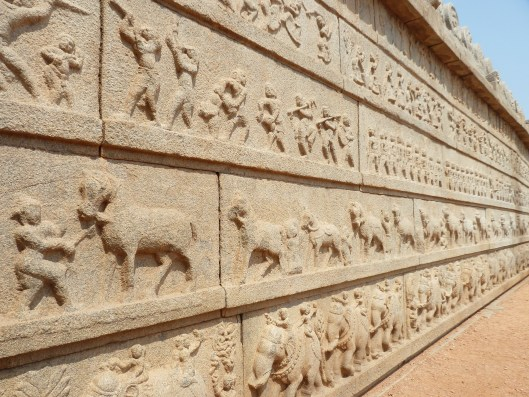 The intricate carvings depicting the story of the Ramayana adorn the outer walls of the temple.