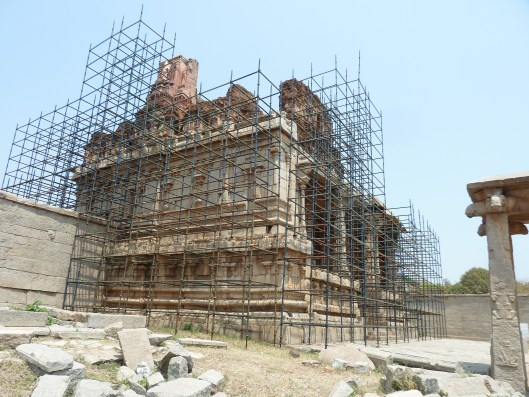 The Krishna temple with the restoration work on way.