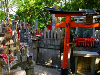 japanese shrine gates and small stone shrines