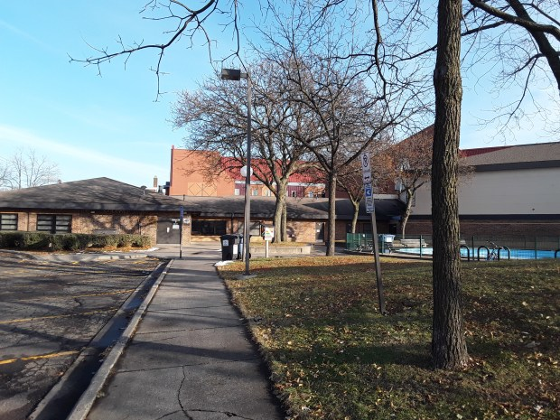 Photo showing the outside entrance to the Whittier Recreation Center at Whittier Park in Minneapolis, MN, where Marie Kube volunteers to teach a free Zumba class on Wednesdays at 6:30 pm.