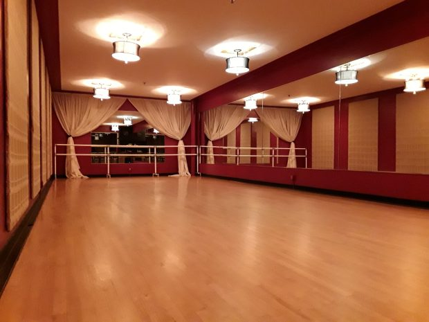 Photo taken inside the beautiful and spacious upstairs (second floor) studio with mirrored walls and hardwood floors at the Cinema Ballroom, 1560 St. Clair Ave., St. Paul, MN 55105, where Marie Kube teaches a Zumba Gold® class Saturdays at 11:30 am.