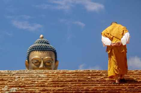 monk, buddha, thinking, enlightenment, peace, spirituality