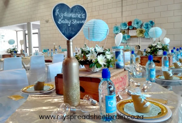 blue and gold baby shower decor