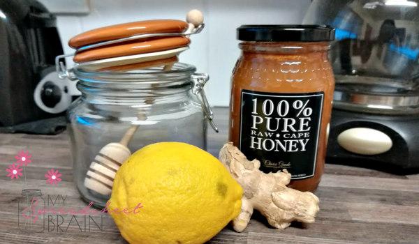 honey, lemon and ginger flu remedy