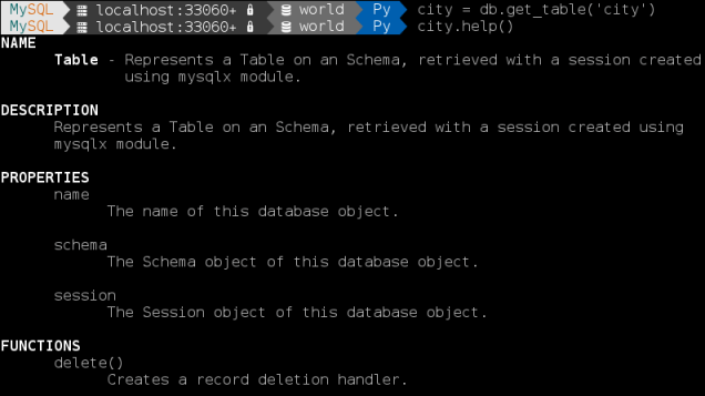 MySQL Shell: Get help for a table object