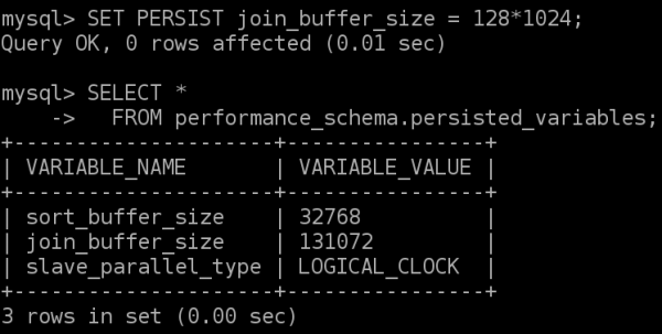 Using SET PERSIST to set a variable and the persisted_variables table in the Performance Schema to get a list of persisted variables.