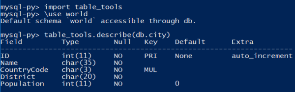 Using a customer table_tools module in MySQL Shell.