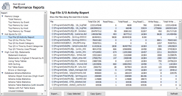MySQL Workbench's Top File I/O Activity Report