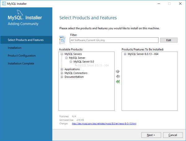 Installing MySQL Server 8.0.13 from MySQL Installer