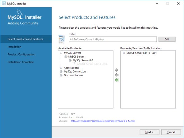 Installing MySQL Server 8.0.13 from MySQL Installer