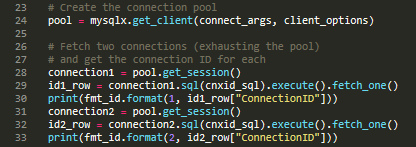 MySQL Connector/Python X DevAPI connection pool code snippet.