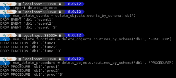 Deleting events, functions, and procedures in MySQL Shell