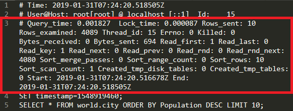 The slow query log with log_slow_extra enabled.