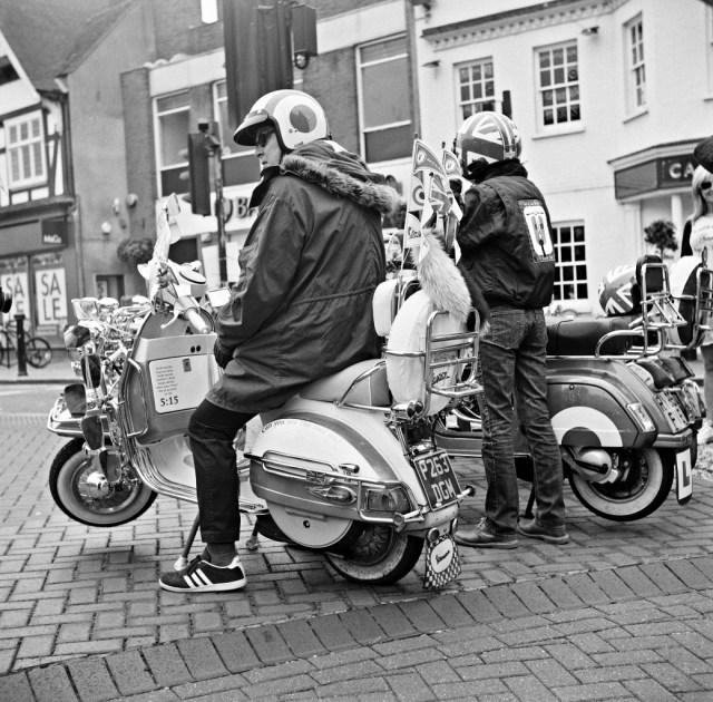 Yashica 635 TLR & Kodak Tri-X black white film analogue 120 medium format mod scooter street town centre wokingham berkshire man retro