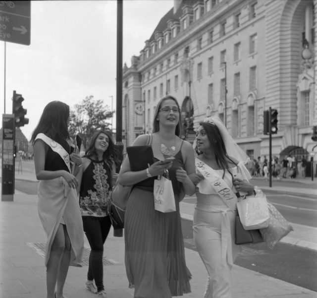 yashica 44 tlr rerapan 127 format london hen party westminster bridge street film black white