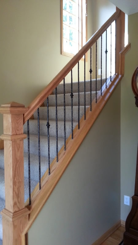 Oak And Iron Plymouth Mystairways | Wood Railing With Metal Spindles | Metal Stair | Decorative | Different Kind Wood | Wood Handrail | Modern
