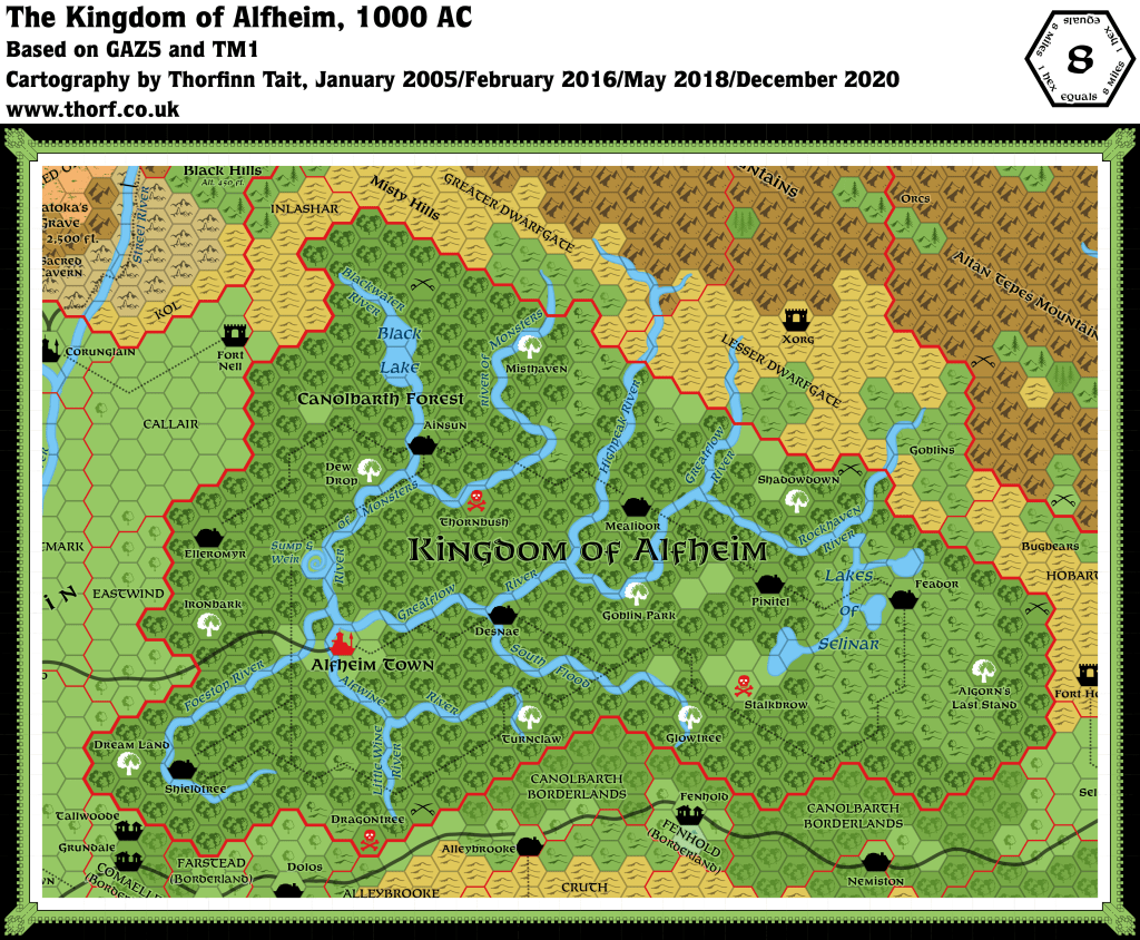 Updated map of Alfheim, 8 miles per hex