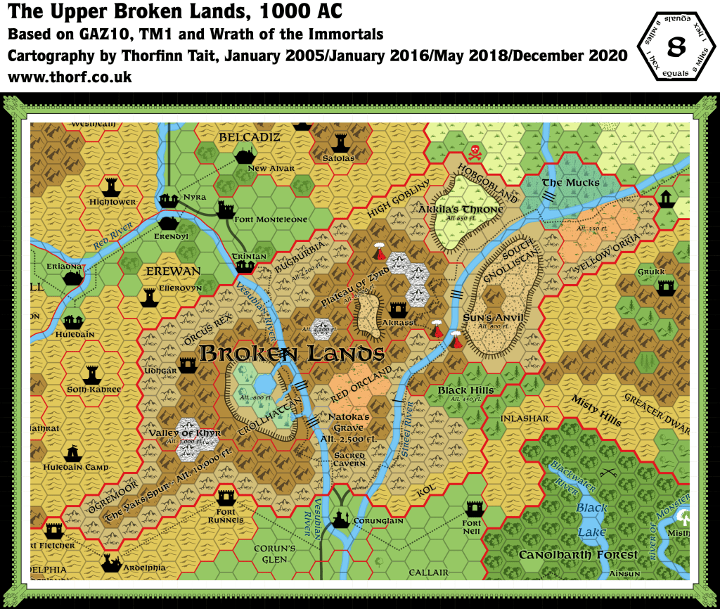 Updated map of the Upper Broken Lands, 8 miles per hex