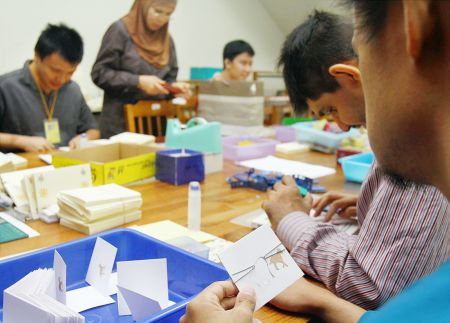 <b>Employment Project staff making greeting cards </b>