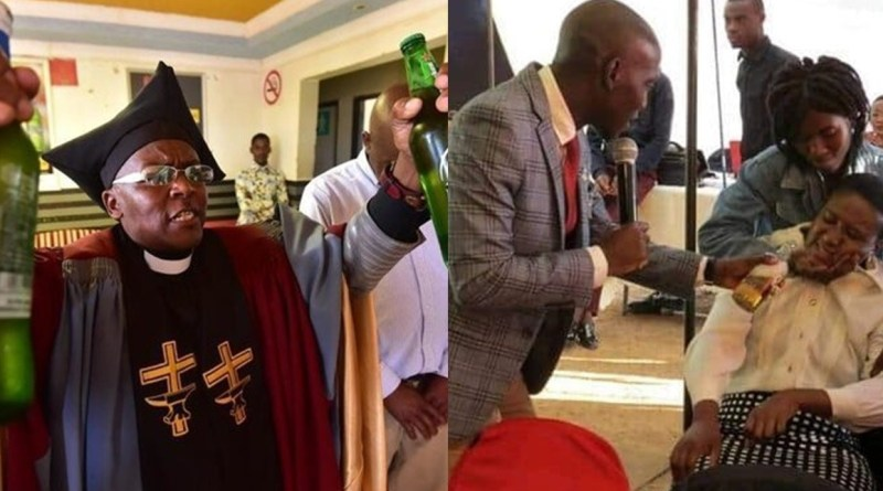 A pastor serve beer as Holy communion