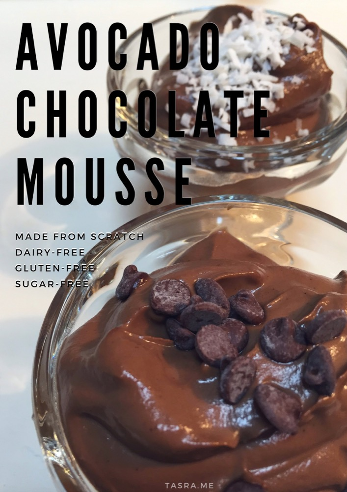 CHOCOLATE MOUSSE avocado recipe, carob chips and coconut