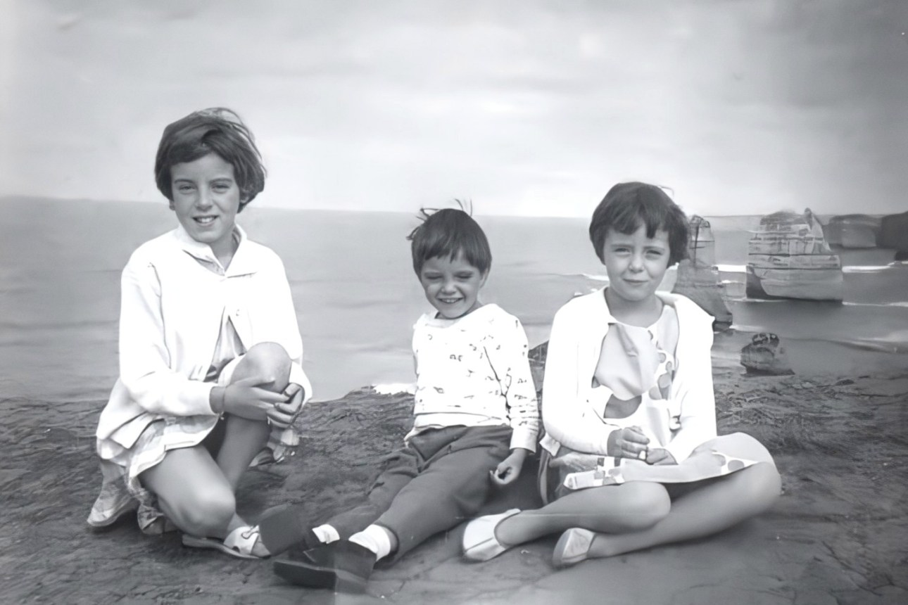 Jane, Grant and Arnna Beaumont, photographed during a 1965 family trip to the Twelve Apostles near Port Campbell, Victoria, Australia.