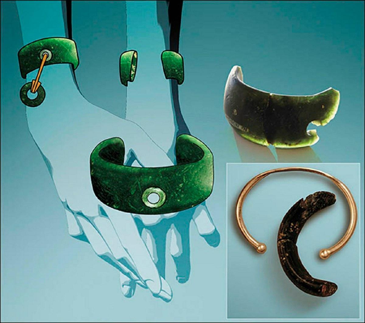 Algemene reconstructie van het aanzicht van de armband en vergelijking met de moders armband. Foto's: Anatoly Derevyanko en Mikhail Shunkov, Anastasia Abdulmanova
