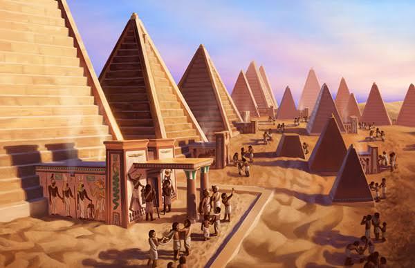 Ilustrações de arte histórica que mostram a antiga glória das pirâmides da Núbia em Meroë.