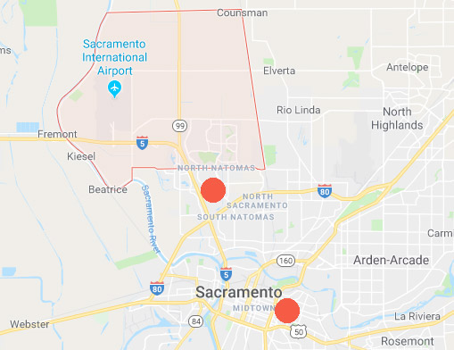 North Natomas, California, is between the Sacramento Int