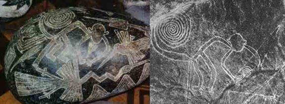 Ica stone carving on the left and Nazca geoglyph on the right