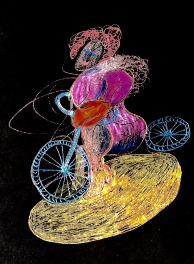 """""""Time Traveling on a Magical Bike"""" by Cheryl Renee Long, Prismacolor"""