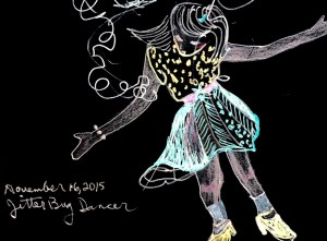 """Jitterbug Dancer"" Gel pen on black sketch book paper by Cheryl Renee Long"