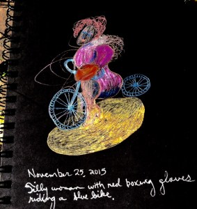 """""""Silly Woman with Red Boxing Gloves"""" By Cheryl Renee Long. Gel Pen on Black Paper"""