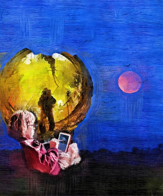 Sandy_iPad_gazingGlobe