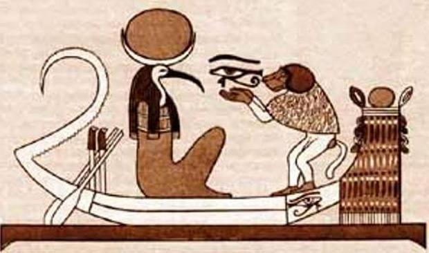 Ilustración que muestra a Thot con cabeza de ibis viajando en un bote junto con un babuino.