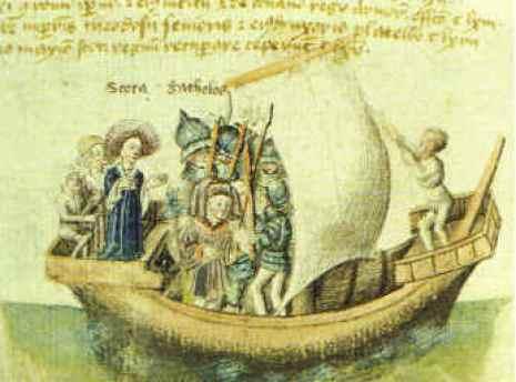 Scota (izquierda) y Goidel Glas viajando de Egipto, como se muestra en un manuscrito del siglo 15 de la Scotichronicon de Walter Bower, en esta versión Scota y Goidel Glas (latinizado como Gaythelos) son marido y mujer.