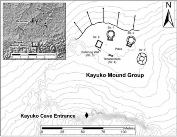 Mapa del complejo ritual basado en los escaneos del terreno con tecnología LiDAR.