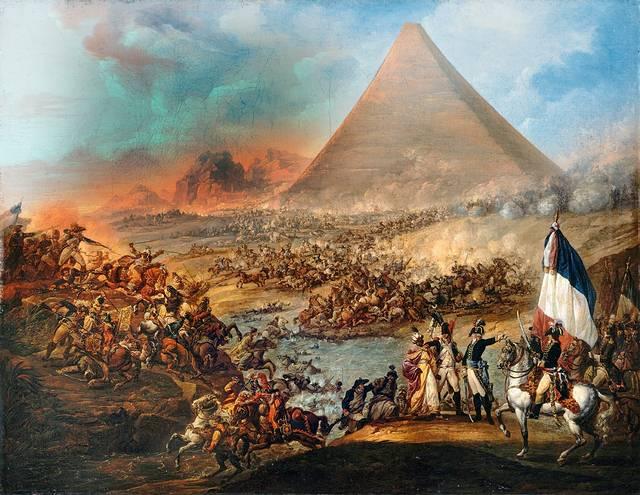 Óleo sobre la batalla entre las tropas de Napoleón y las fuerzas mamelucas en 1798. Museo de Bellas Artes, Valenciennes.