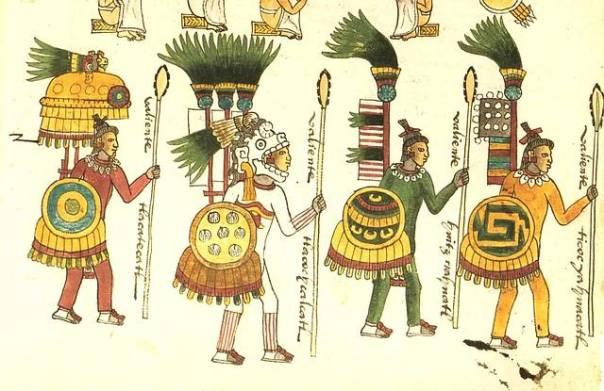 Ilustración de guerreros aztecas en el Códice Mendoza.