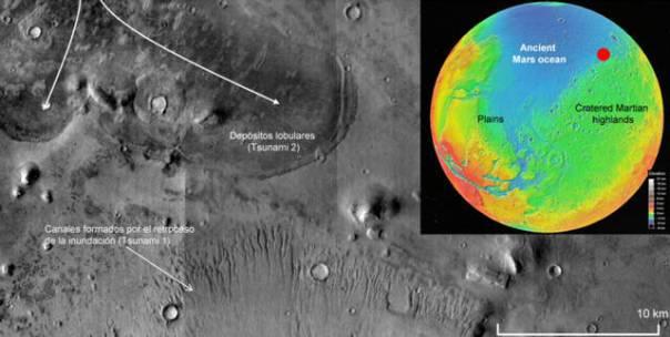 Detalle de la región noroeste de Arabia Terra, tomada nave Mars Reconnaissance Orbiter (MRO) de la NASA en marzo de 2008. A la derecha, Marte.