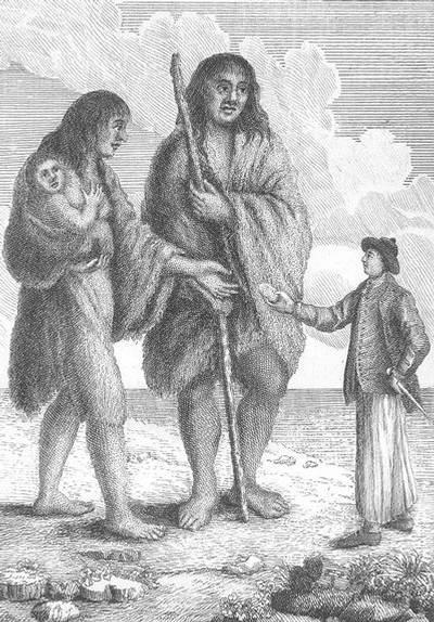 «Marinero europeo dándole una galleta a una mujer nativa patagónica y su hijo» (Ilustración del siglo 18).