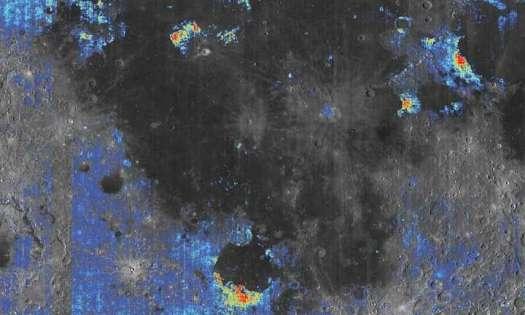 Las áreas coloreadas indican una elevada cantidad de agua en comparación con los terrenos circundantes (siendo las resaltadas en amarillo y rojo donde más abunda el agua).