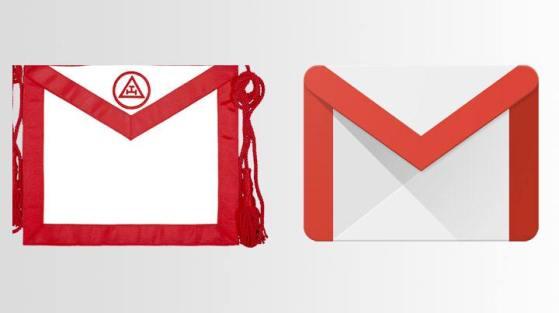 Izquierda: Imagen de mandil rojo del Rito Escocés Antiguo. Derecha: Ícono de Gmail.